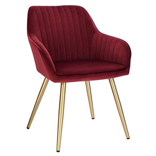 Lestarain 1 Stück Esszimmerstuhl, Küchenstuhl Wohnzimmerstuhl Sitzfläche aus Samt Polsterstuhl mit Armlehne Metallbeine Polstersessel Stuhl für Esszimmer Wohnzimmer Küche, Bordeaux