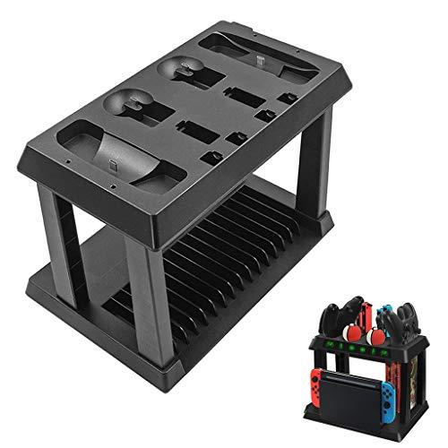 Station de Charge Power pour Nintendo Switch Manettes Joy-Con, Disque de Jeu Rack de Stockage et 10 en 1 USB Type C Chargeur avec Indicateur de Charge LED (Noir)