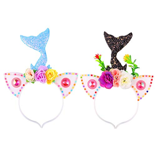 VALICLUD Diadema de Sirena de Cola de Sirena con Luz Led Diadema con Flores Estrellas Accesorios de Disfraces de Sirena de Halloween (Amarillo Púrpura)