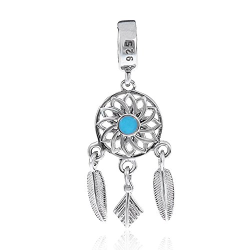 Dream Catcher Charm 925 Sterling Silver Feather Charm Angel Wing Charm Flower Charm for Pandora Bracelet (A)