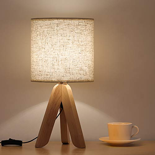 Small Bedside Table Lamp, Wooden Tripod Minimalist Nightstand Lamp with Fabric Linen Shade for Living Room, Bedroom, Office