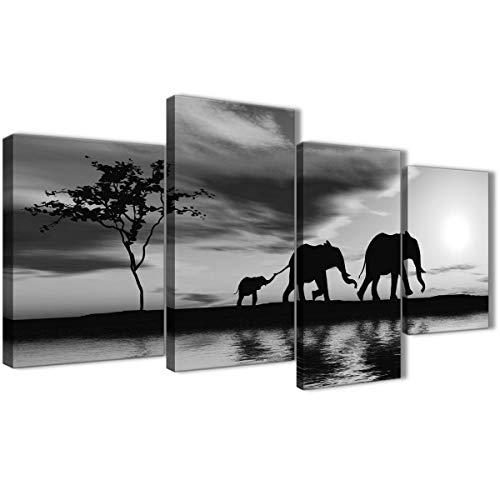 Большой черный белый африканский слон. Закат на холсте. Набор из нескольких полотен шириной 4–130 см - 4363 Wallfillers