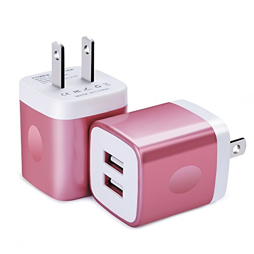 Wall Charger, FiveBox 2Pack Dual Port USB Wall Charger Brick 2.1A Phone Charger Cube Charging Block Plug Charger Box Charging Base for iPhone X/8/6/6s/7 Plus, iPad, Samsung S9 S8 S7 S6, Android, LG