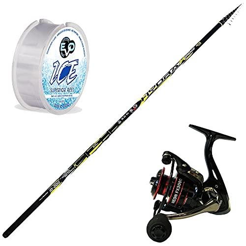 Kit Canna Bolognese EVO FISHING HYDRAX 5-6-7 metri Carbonio alto modulo Mulinello EVO NEOX 3000 5+1bb Monofilo EVO ICE 300mt 0,18 (Canna 6 Metri)