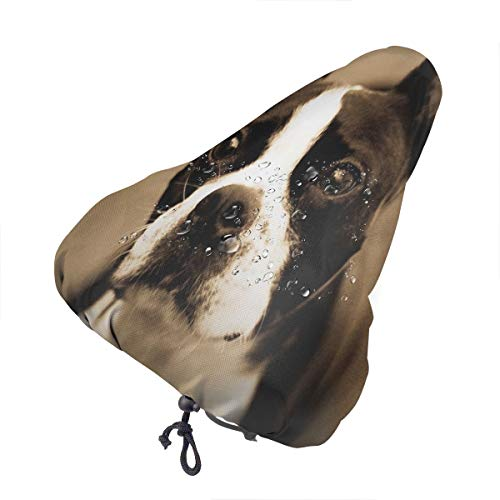 N\ A Bike Seat Cover Boston Terrier Dog Bicycle Saddle Exercise Waterproof Replacement Rain Covers for Mountain Road Bike Women Men Adult Kids Youth Outdoor Cycling Travel with Drawstring