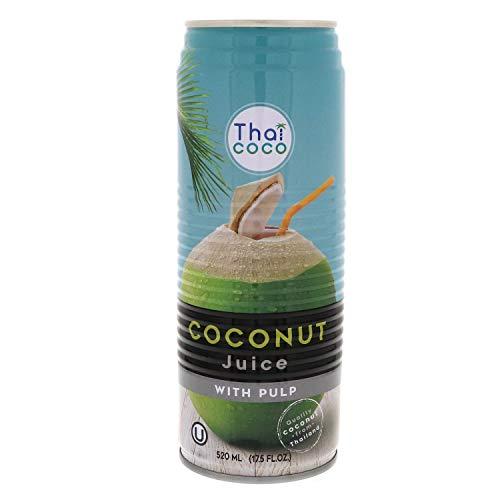 Acqua di Cocco Pura Da Bere 100% Naturale Senza Zuccheri Aggiunti Estratto da Cocco Fresco 0% Grassi Vegan Senza Lattosio Glutine e No Ogm Ricca di Vitamine Lattina 520 Ml x 12 Pz