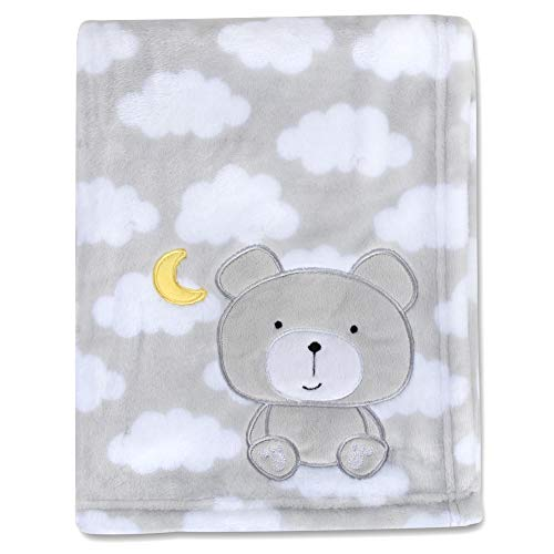 Baby Essentials Plush Fleece Throw and Receiving Baby Blankets for Boys and Girls Grey Bear