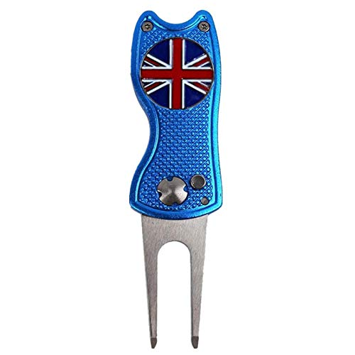 Golf Divot Repair Tool Switchblade with Ball Marker Value 1/2 Pack, Stainless Steel Pitchfork with Pop-up Button Magnetic Marker Color Red Blue Black Foldable Portable Gifts (Blue Cat-1 Pack)