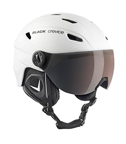 Black Crevice Erwachsene Skihelm Silvretta, mit Visier, Carbon weiß, L