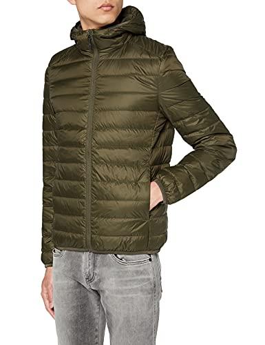 Urban Classics Basic Hooded Down Jacket Giacca, Verde (Dark-Olive 551), S Uomo