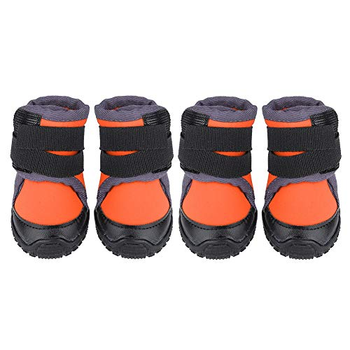 Ichiias 4Pcs Pet Schuhe Modische Non-Slip Outdoor Sports Klettern Stiefel für Hunde(Orange 45)