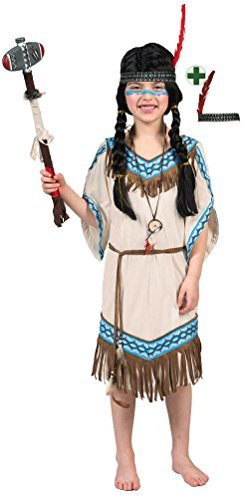 Karneval-Klamotten Indianer Kostüm Kinder Mädchen Indianerin Kostüm Mädchen-Kostüm Squaw Pocahontas beige blau mit Stirnband Karneval