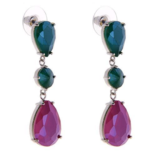 TEMPUS FUGIT. Pendientes Largos. Diseño de joyería de Moda con cristales de colores, Incluye caja para regalo