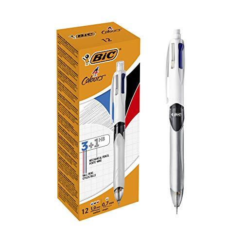 BIC 4 Colores - Bolígrafo y Portaminas 3+1HB, , caja de 12 unidades, tinta azul, negro, rojo y portaminas