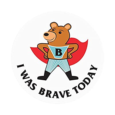 "PDC Healthcare 59708873 Label,""I was Brave Today"", 2"" Circle, White (Pack of 250)"