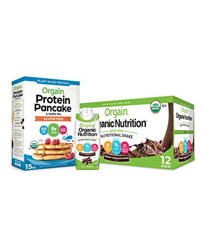 Orgain Bundle  Protein Pancake amp Waffle Mix Gluten Free and Chocolate Organic Nutritional Meal Replacement Shakes 12 Pack  Ready to Drink