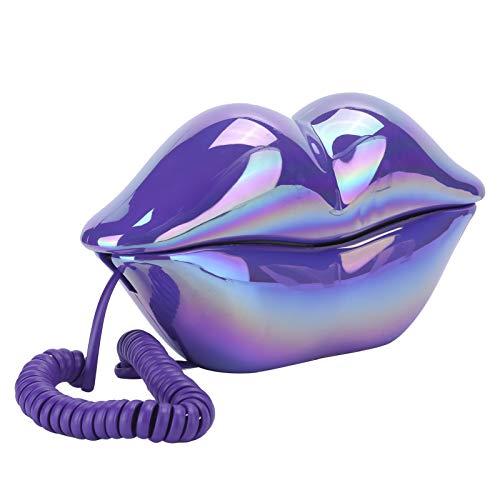 fasient1 Teléfono de Boca con Cable Novedad Sexy teléfono de Labios en Forma de Dibujos Animados Real con Cable Fijo teléfono de Oficina en casa Muebles decoración Regalo(Galvanoplastia púrpura)