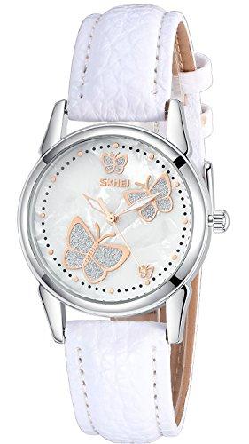 INWET Damen Uhr Analog Quarz mit Leder Armband Schmetterling Perlmutt Weiß