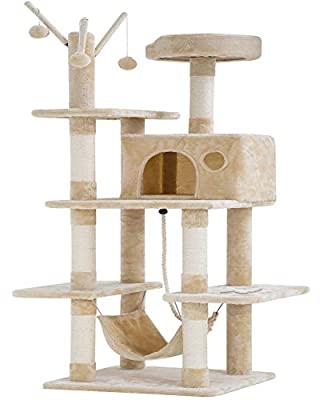 BestPet Cat Tree Tower Condo Playground Cage Kitten Multi-Level 56 inches Activity Center Play House Medium Scratching Post Furniture Plush Perches with Hammock (Beige)