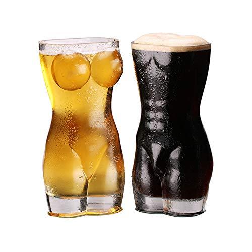HUIJ Sexy Torso Bierglas Krug,Wein Schnapsglas Tasse Sexy,Kreative Sexy Lady Men Langlebige Wand Transparente Gläser Wein Schnapsglas Big Chest Bier Tasse