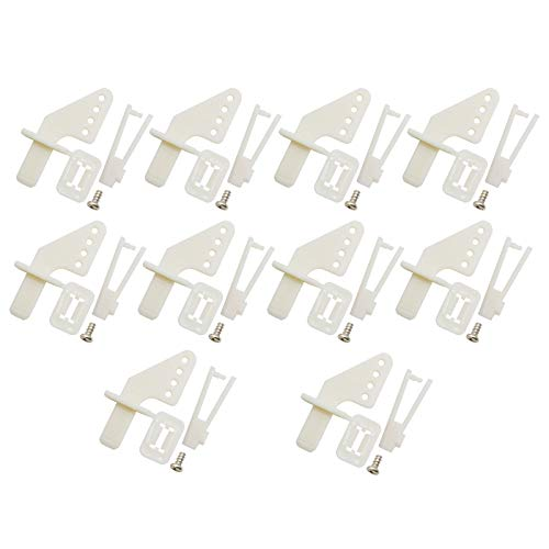 RuiLing 10 Sets Airplane 4-Hole Nylon Pin Control Horns and Self-Locking Clevis Kit Model Airplane Electric Aircraft RC Fixed-Wing DIY Parts Plug Type Self-Lock KT Rudder Angle