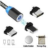 Magnétique Câble USB Type C/Micro/Light Charge Ultime Rapide/NO Synchro-3 en 1 Nylon Tressé...