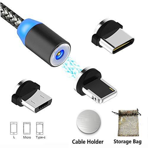 Magnet USB Kabel 3-in-1 Magnetisches Ladekabel - 1M/3.3ft(Keine No-Sync-Daten) | Micro、L、Type C USB C Aufladen von Adapter mit 1 Magic Cable Halter für Android Phone Samsung Galaxy Nylon Geflecht