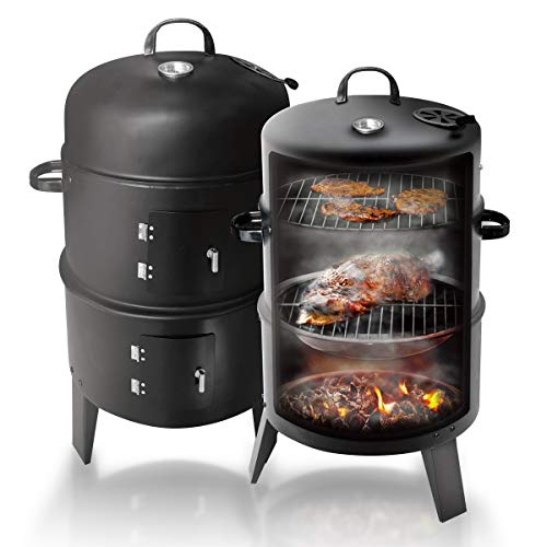 Vertical Charcoal BBQ Smoker Grill, Heavy Duty Round Smokey Mountain Cooker with Heat Control 2 Cooking Rack, for BBQ Outdoor Picnic Camping
