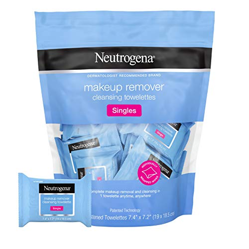 Neutrogena Makeup Remover Facial Cleansing Towelette Singles, Daily Face Wipes to Remove Dirt, Oil, Makeup & Waterproof Mascara, Gentle, Alcohol-Free, Individually Wrapped, 20 ct