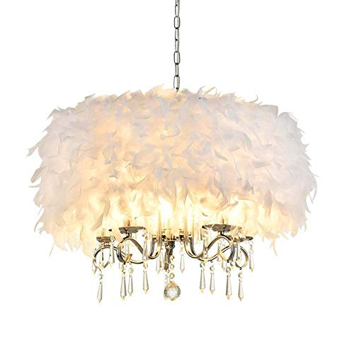 XNCH Mini Pendant Light, Fluffy White Feathers and Crystal Chandelier, Bedroom Dining Room Study Creative Ceiling Light Fixture, E14, 3-Light-5