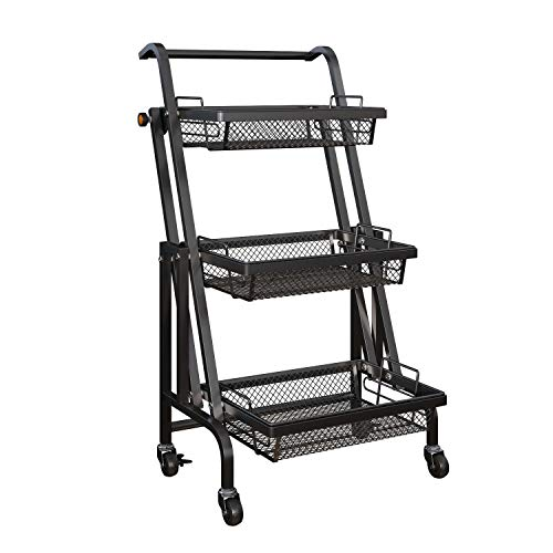 Moxeay Storage Rolling Cart Adjustable Storage Cart, 3 Tier Metal Rolling Cart with 2 Lockable Caster Wheels, Storage Organizer with Removable Baskets for Bathroom, Kitchen, Office, Library (Black)