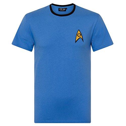 Star Trek - Herren T-Shirt - Uniform von Spock, Scotty, Captain Kirk - Offizielles Merchandise - Geschenk - Blau - M