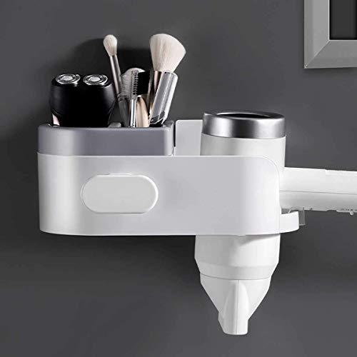 SEESEE.U - Soporte de pared para secador de pelo, organizador de herramientas, estante de esquina, sin taladrar, estilo simple, para inodoro, baño o cuarto de baño