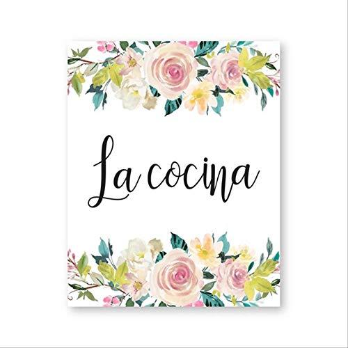 LWJZQT canvasdruk La Cocina Spaans keuken citaat afdrukken aquarel bloemen poster keuken teken kunst schilderij doek schilderij keuken wanddecoratie