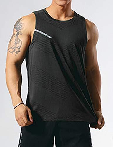 GYMAPE Herren-Sport-Tank-Top, ärmellos, Muskel-Lauf-Shirt, Training, schnelltrocknend, Fitnessstudio Gr. XXL, Schwarz
