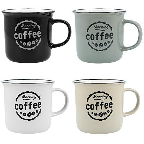 com-four® 4X Vintage Coffee Mug Morning Coffee - Taza de café de cerámica para el hogar y la Oficina - Tazas Vintage para el Desayuno, 380 ml (04 Piezas - café de la mañana)