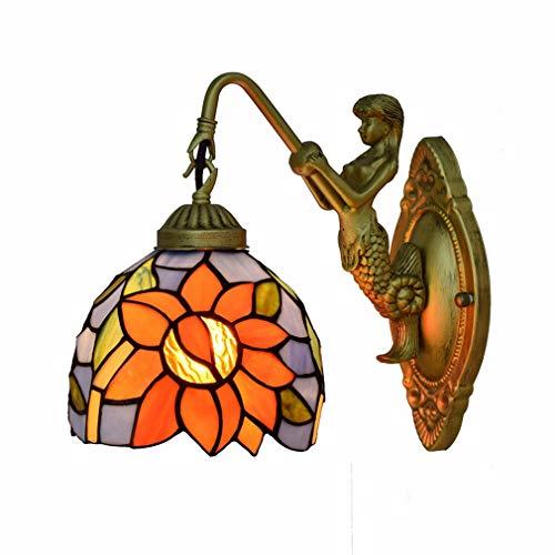 Lámpara de pared estilo Tiffany, aplique de pared de vidrio manchado Sun FLower Design,...
