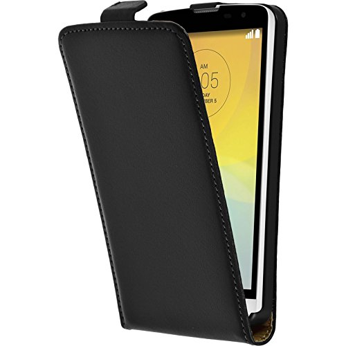 PhoneNatic Kunst-Lederhülle kompatibel mit LG L Bello - Flip-Hülle schwarz + 2 Schutzfolien