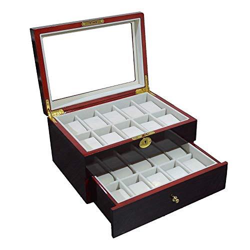 Caja de almacenamiento de relojes Cajas de colección Llave y cerradura Caja de reloj de madera con tapa de vidrio transparente Vitrina de relojes de madera Organizador de almacenamiento de joyas con