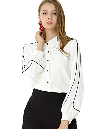 Allegra K Camisa Blusa Mangas Largas Cuello Puntiagudo Oficina Elegante para Mujeres Blanco XS