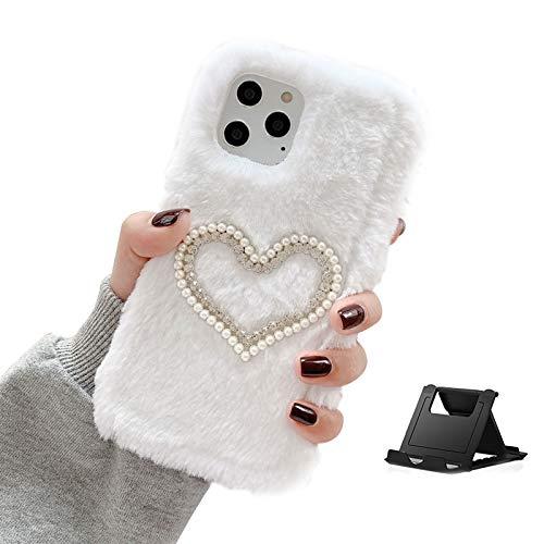Shinyzone Plüsch Hülle Kompatibel mit Samsung Galaxy S21,Süße Faux Pelzig Kaninchen Winter Weiche Warme Pelz Glitzer 3D Diamant Kristall Perle Stoßfest Schutzhülle,Weiß