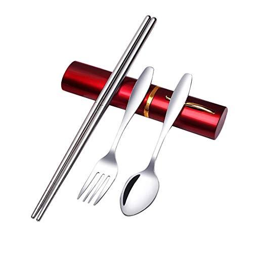 FLAMEER Geschirr Besteck Gabeln Löffel Messer Bestecksatz für Outdoor-Camping-Ausflüge + Aufbewahrungsetui (3 Stücke) - rot