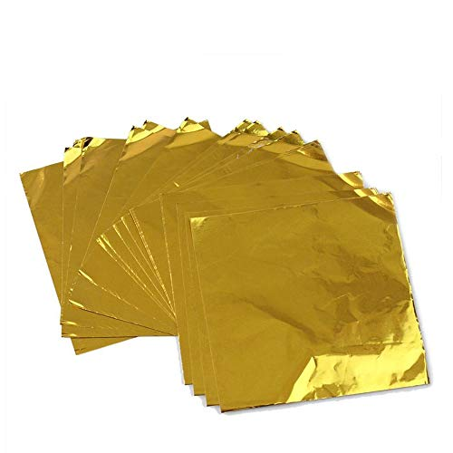 Wowagoga Aluminum Foils Paper Chocolate Candy Wrapping/Packing Sheets, Gold, 6x6 Inches, Pack of 200