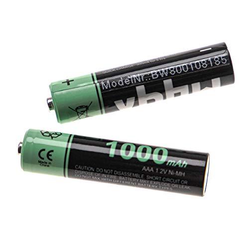 vhbw 2X NI-MH 1000mAh (1.2V) wiederaufladbare Akkus Batterien für Telekom T-Com Sinus 103, 301i, 500i, 501i wie AAA, Micro, R3, HR03.