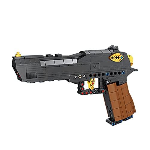 WWEI Pistola técnica Desert Eagle con función de disparo, 360 piezas, armas de tiro, juguete de construcción compatible con pistolas Lego.