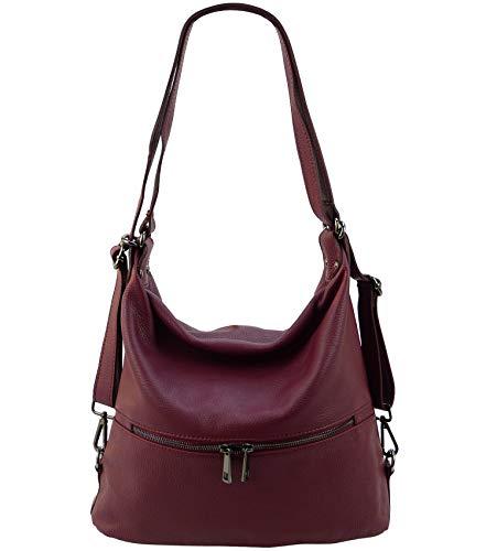 Freyday 2in1 Rucksackhandtasche Designer Damen Handtasche Henkeltasche 100% Echtleder HR02 (Bordeaux)