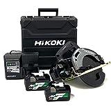 HiKOKI(ハイコーキ) コードレス丸のこ 36V マルチボルト 充電式 刃径165mm ブラック リチウムイオン電池、急速充電器、予備電池付※蓄電池保証書、純正ケース付 C3606DA (2XPB)(K) スーパーチップソー黒鯱仕様 蓄電池合計3個セット
