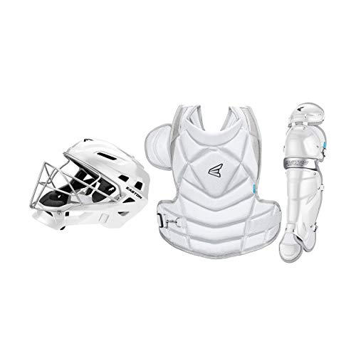 EASTON THE FUNDAMENTAL BY JEN SCHRO Female Catchers Protective Box Set | Large | White | 2020 | Helmet & Steel Cage | Chest Protector - Breathable & Lightweight | Leg Guards - Extra Inner Knee Foam
