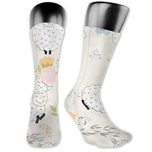 JONINOT 2 paquetes de calcetines deportivos ligeros y cómodos de 40CM, novedad, divertidas, lindas y divertidas ovejas, medias largas medianas