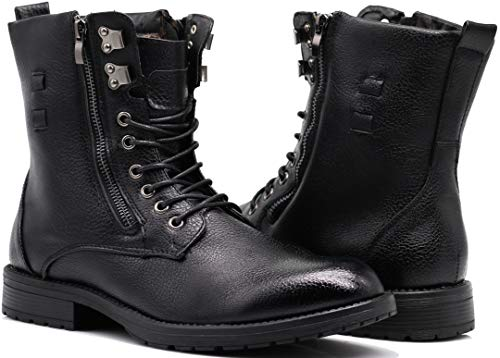SH05 Mens Military Combat Mid Calf Ankle High Roll Down Top Lace Up Fur Lining Winter Snow Boots (8 M US, Black (04))